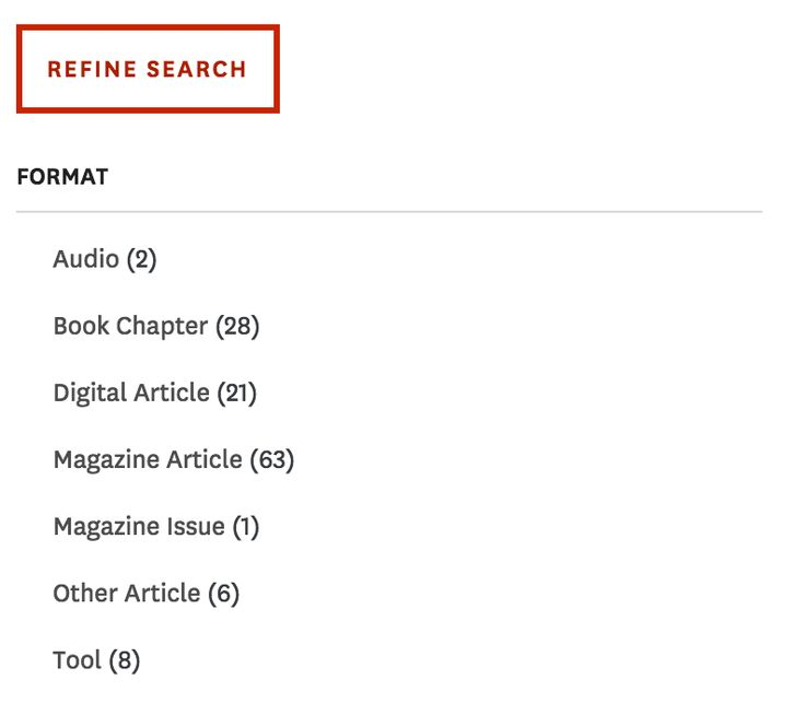 HBR's search refinement menu removes selected refinements from the menu.