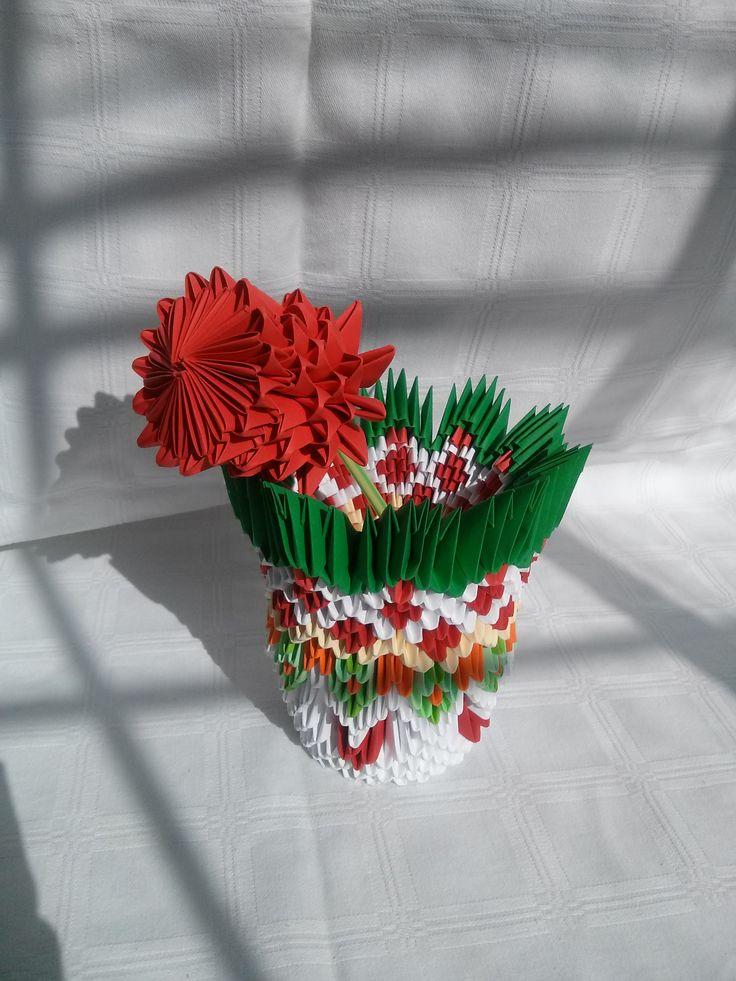 A venit vara! Mihaela's Origami3D red rose in vase handcrafted diy interior decoration.