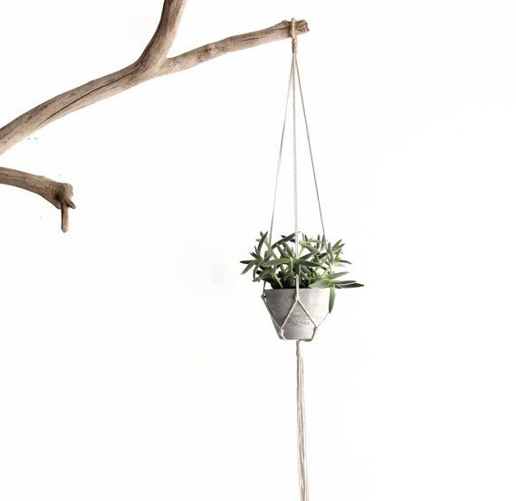 Small Modern Hanging Planter Concrete Planter Macrame by fraeandco
