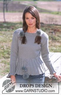 DROPS 91-7 - DROPS Sweater in Alaska with pompons in Vienna - Free pattern by DROPS Design