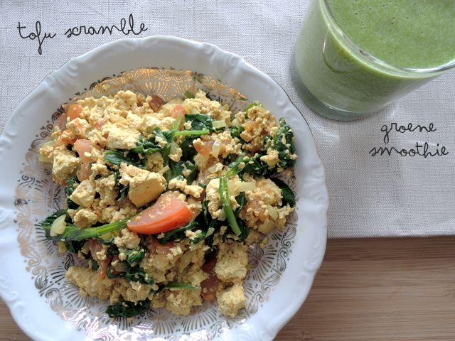 ♥ Scrambled tofu met spinazie