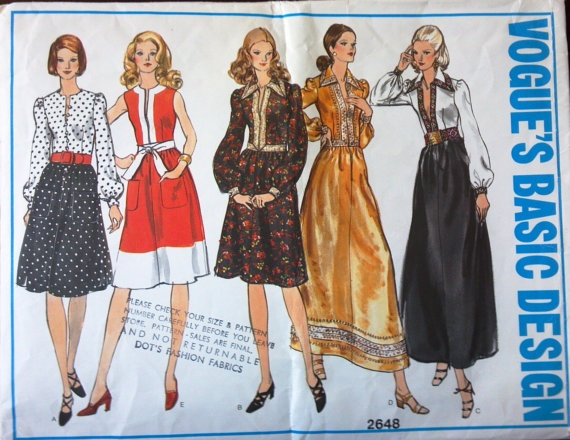Vogue's Basic Design Pattern 2648 for Lady's by VictorianWardrobe, $5.00