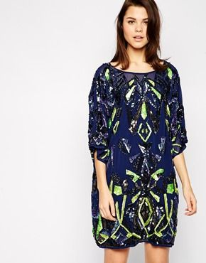 ASOS Geo-Tribal Embellished Tunic Dress