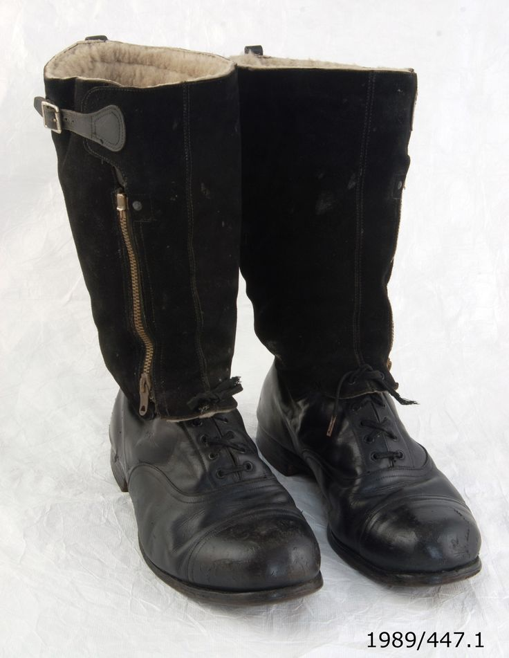 Pair of Royal Air Force escape pattern boots, 1943. Belonged to Flight Lieutenant Arthur Leonard Humphries. From the collection of the Air Force Museum of New Zealand.