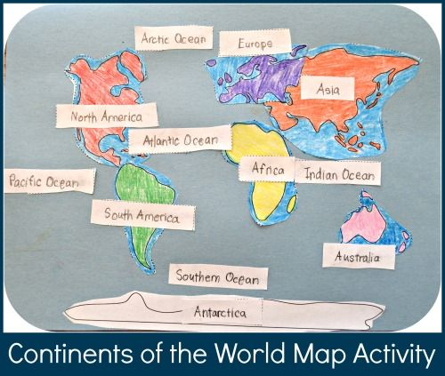 This continents of the world map activity practices recognizing continents and oceans: a great beginning geography lesson for kids!