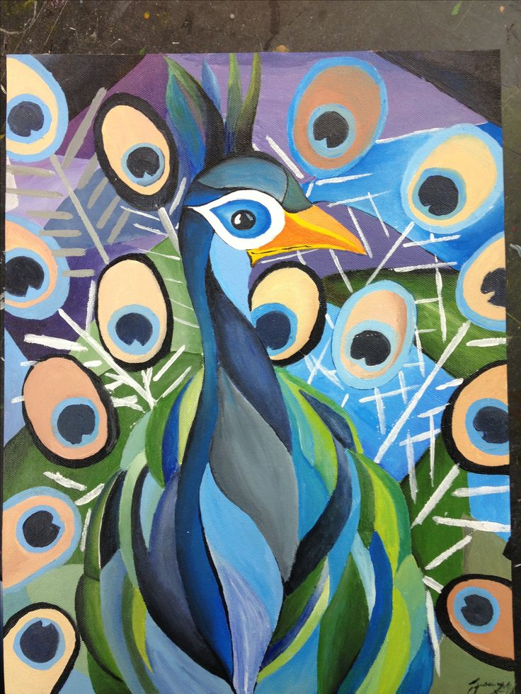 Cubism peacock! My painting !   Paintings   Pinterest ...