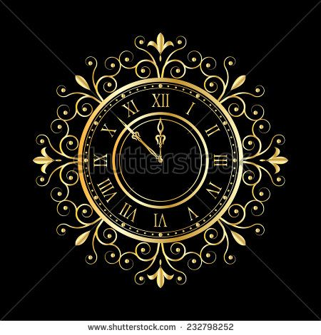 stock-vector-golden-clock-vitage-style-for-new-year-and-christmas-design-vector-…