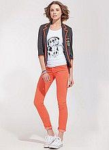 футболка, женская, белая, с принтом, брюки, джинсы, скинни, женские, оранжевые, узкие