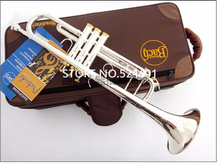 189.53$  Watch now - http://ali5qj.worldwells.pw/go.php?t=32693832559 - Professional Bach Trumpet Plate Silver Pipe Body Gold-Plated Key Carved Bb Trumpet Drop Adjustable Trompete Instrument TR-197GS