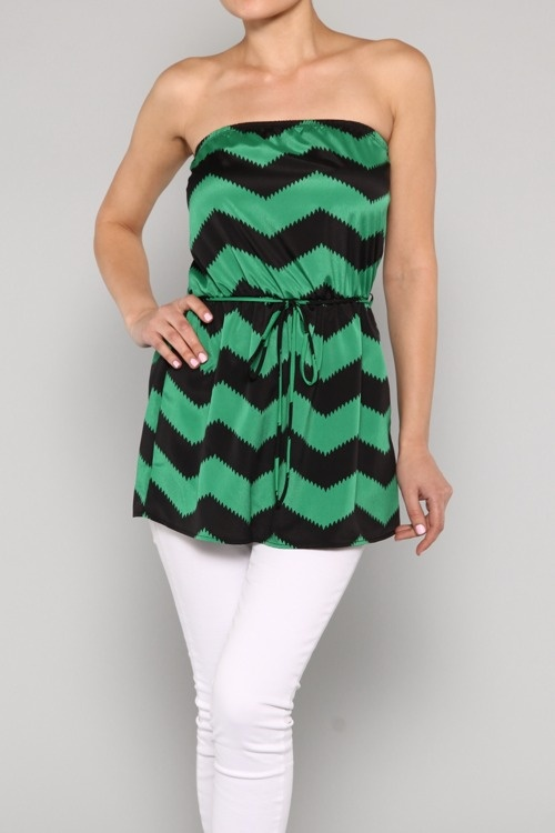 Love this chevron strapless top.