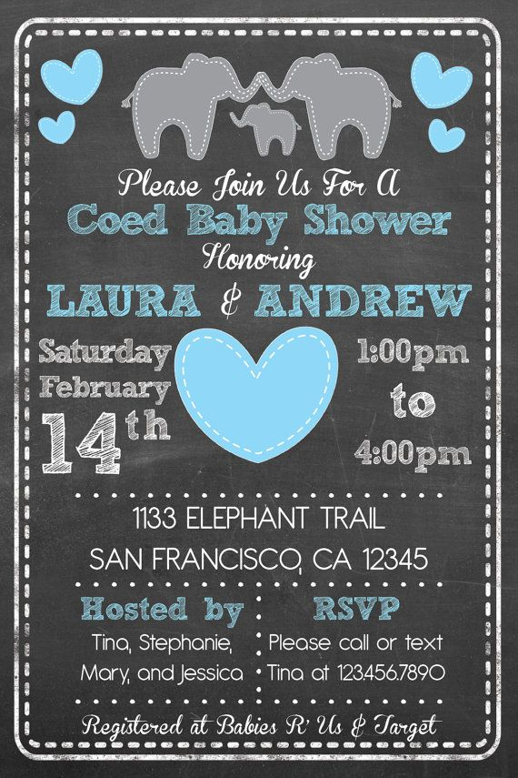 Printable Elephant Theme Coed Couples Baby Shower Set -Invite
