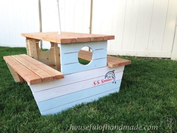 How to build a nautical picnic table for bigger kids for Picnic boat plans