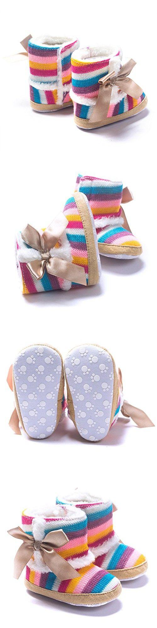 KaKaKi Infant Baby Prewalker Super Soft Cotton Anti-Slip Sole Toddler Winter Boots Rainbow,12