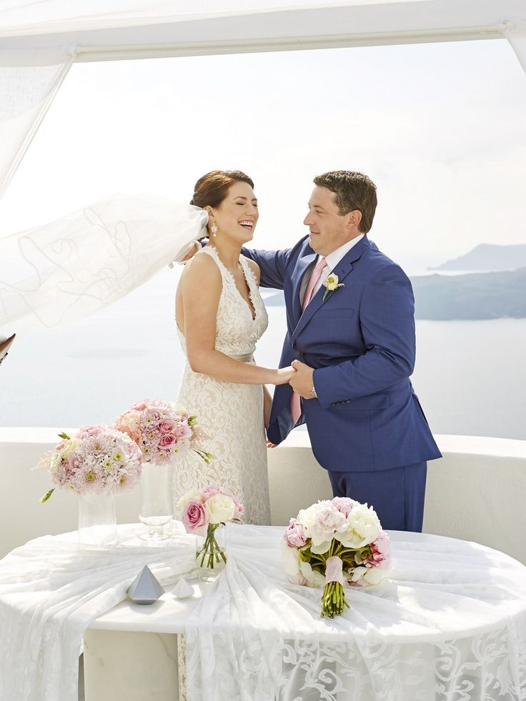 Smiles, Laughter, Happy Moments, Santorini Wedding Venue, Flowers, Caldera View, Perfection
