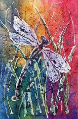 Watercolor Batik Art - Drangonfly in Grass by Christine Peterson