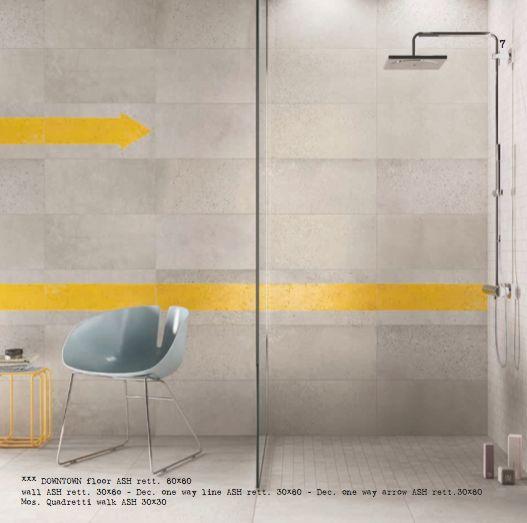 Collezione DOWNTOWN di ABK per una doccia speciale. #wall Ash, decoro One way line e One way arrow. Per tutti i prodotti visita il nostro sito www.abk.it #abkemozioni #ceramica #cool #ceramics #design #tile #floor #shower #bathroom