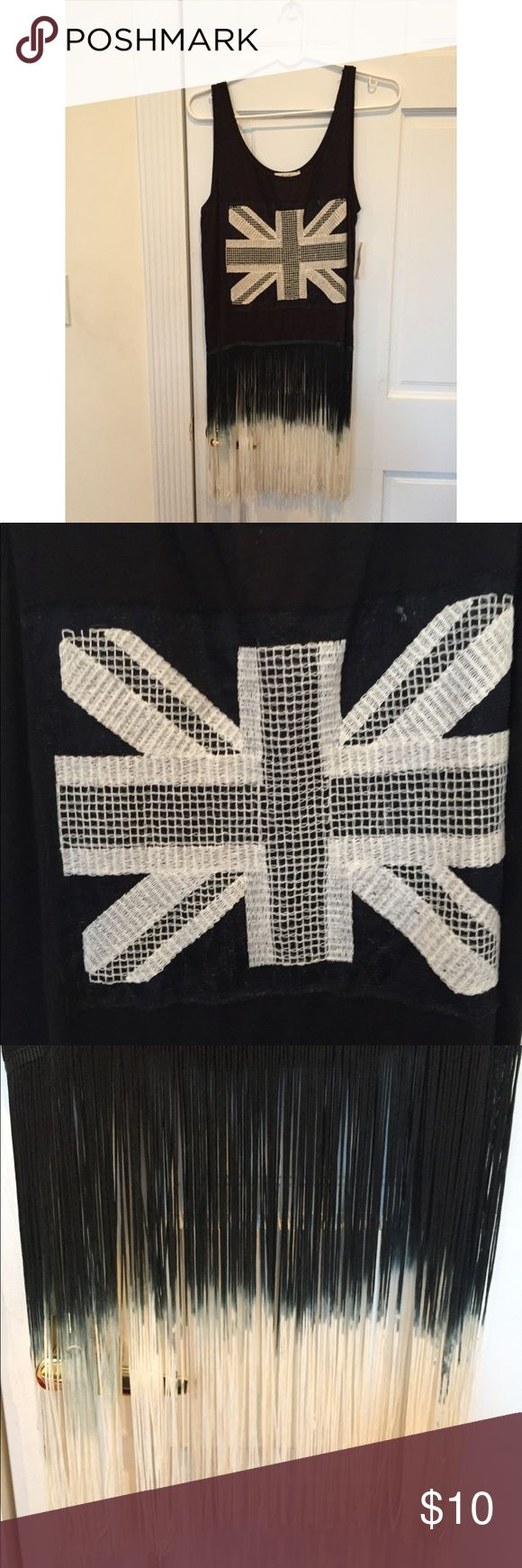 London Flag fringed tank NWT black tank top with London flag embroidery and dip dyed fringe. Tops