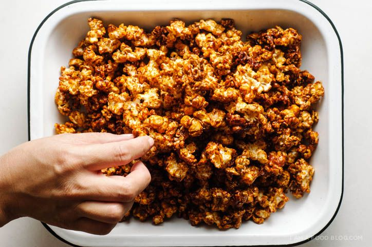 Made this on 2/2 for Superbowl. Taste profile generally excellent, but it still tasted slightly burned (as author noted) even though I watched the caramel. Think next time I will make it with the caramel from another recipe for caramel corn, then add the rest. Still incredibly edible.   sriracha caramel corn recipe - www.iamafoodblog.com