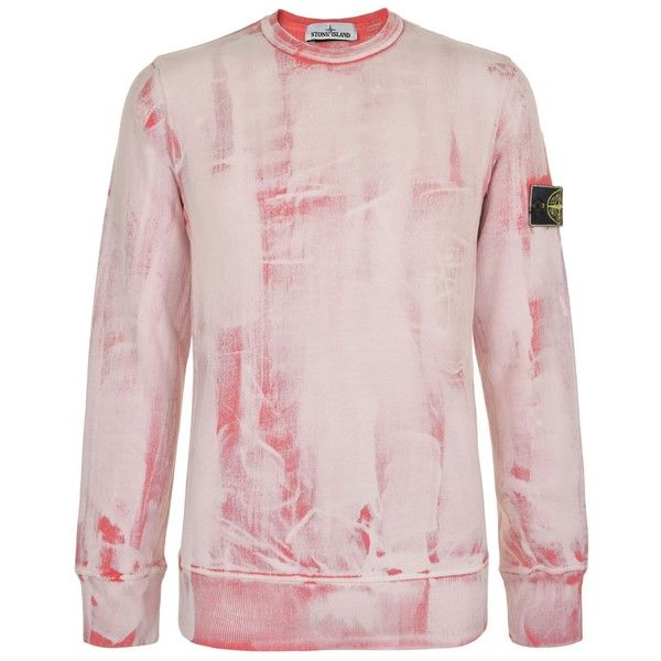 STONE ISLAND Hand Corrosion Crew Neck Sweatshirt ($345) ❤ liked on Polyvore featuring tops, hoodies, sweatshirts, crew-neck tops, stone island sweatshirt, pink crew neck sweatshirts, crewneck sweatshirt and stone island top
