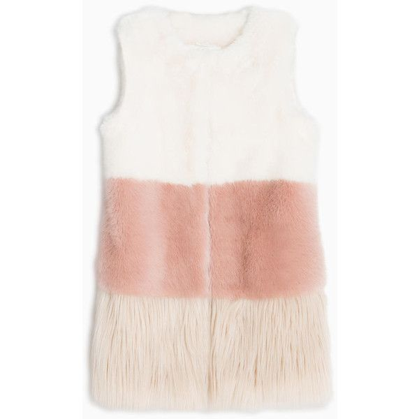 MAX&Co. Plush colour-block gilet ($255) ❤ liked on Polyvore featuring outerwear, vests, ivory, sleeveless vest, white sleeveless vest, white waistcoat, color block vest and white vest
