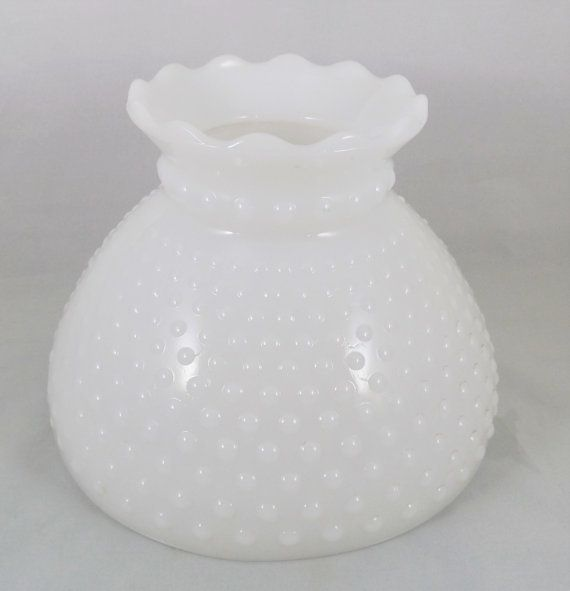 "Milk Glass Hobnail Lampshade 8"" Fitter, Vintage Student Style Glass Lamp Shade, Replacement Glass Hobnail Shade"