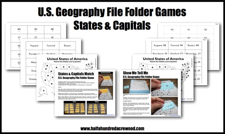 Half-a-Hundred Acre Wood: U.S. Geography States & Capitals File Folder Game