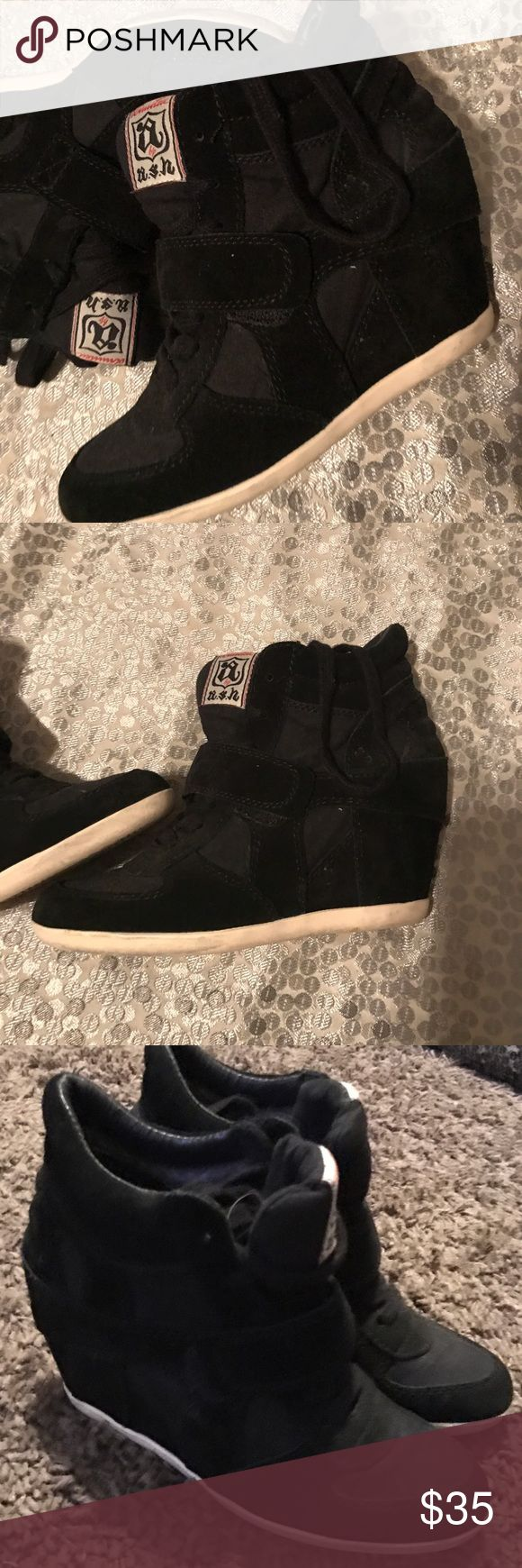 Black sneaker wedges size 7 Black Limited ASH sneaker wedge, laces up with heel. Size 7. In pre loved condition. Offers accepted Shoes Lace Up Boots