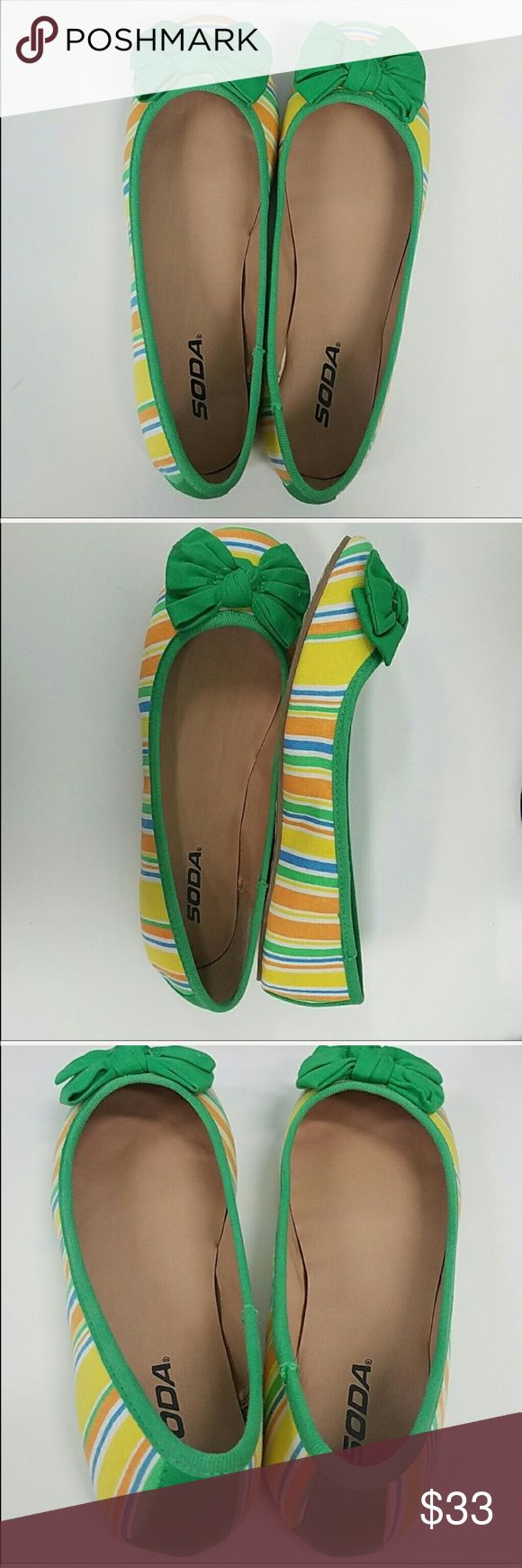 New in box ballet flats Look cute yet feel comfortable in the office in these green/yellow striped ballet flats. Offers are welcome but will not be discussed in comments. Bundle & I'll send you a private offer! Shoes Flats & Loafers