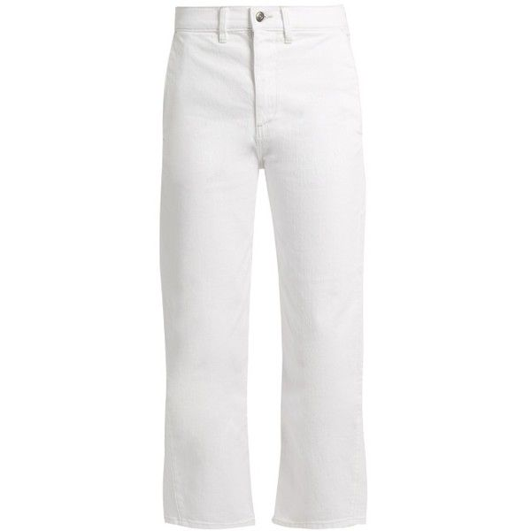 Vince High-rise straight-leg cropped jeans (895 DKK) ❤ liked on Polyvore featuring jeans, white, white cropped jeans, stretch jeans, white high waisted jeans, stretch straight leg jeans and high rise straight leg jeans