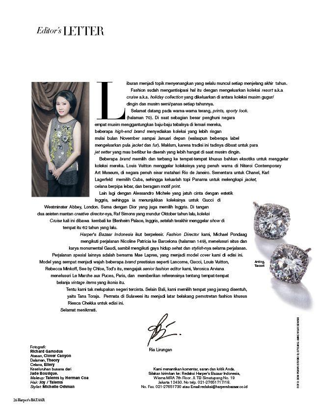 Styling for Harper's Bazaar Nov 2016 Editor's Letter