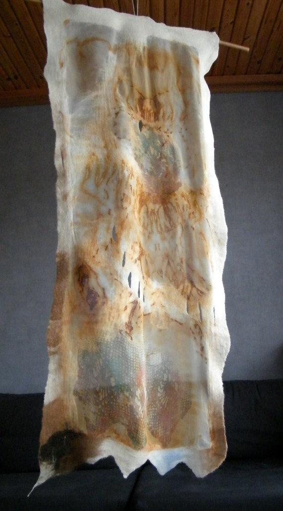 Felted scarf silk and wool   SKIN MEMORY 2 OOAK by SleeWay on Etsy, $120.00
