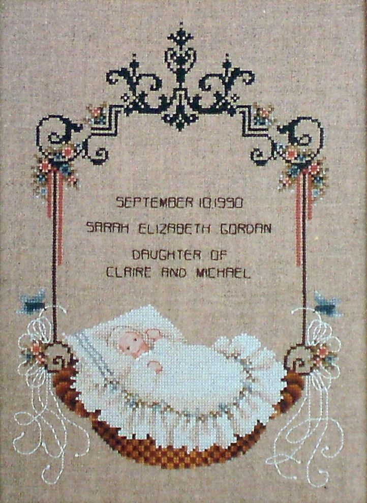 Baby In A Basket – Told In A Garden Cross Stitch Chart TG37 by SewingMakesMyDay on Etsy