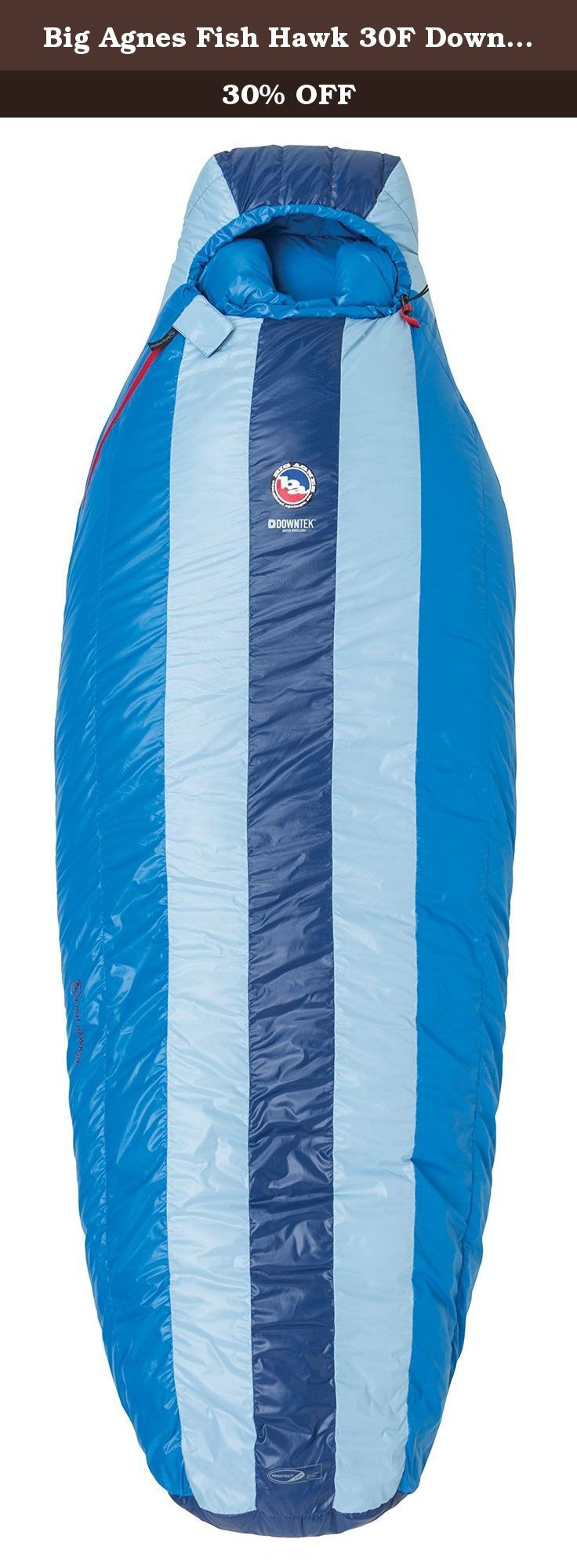 Big Agnes Fish Hawk 30F DownTek Sleeping Bag (Regular / Left Zip). Updated for 2015, the Classic Down series offer warmth, compressibility and the Big Agnes System bag design. Classic Series bags combine a roomier contour shape with a narrower pad sleeve to provide an overall more comfortable and cozier sleeping experience than ever before. Big Agnes also redesigned the bag to be taller across the top so you can roll over more freely. The ergonomic hood gives you more range of motion so…