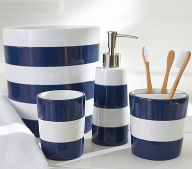 Navy Stripe Bath Accessories For Child Bathroom Pbkids
