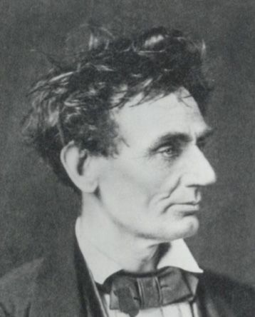 """A reporter once described Lincoln's mop as """"Wild Republican hair."""" In this 1857 photo, Abe looks like he just got out of bed (via @mental_floss)."""