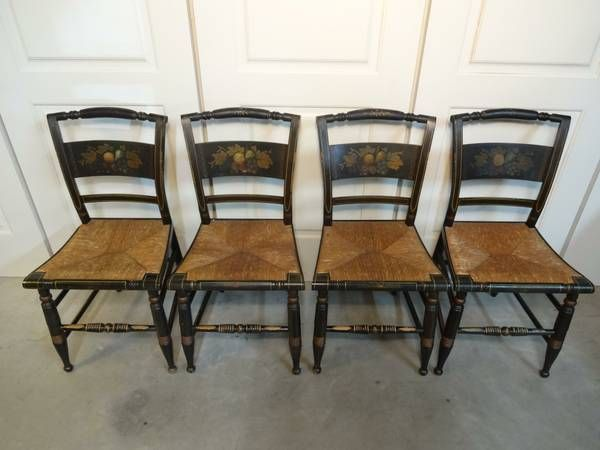 Craigslist Santa Cruz 4 Vintage Ethan Allen Hitchcock Style Black Dining Chairs Rush Seats Ethan Allen Dining Dining Chairs Home Decor