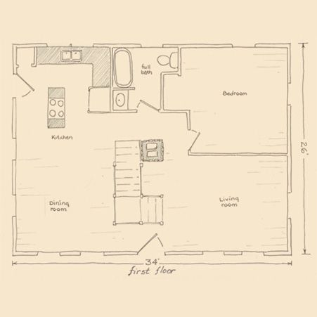 Small cape house first floor plan illustration i dreamed for Small cape house plans