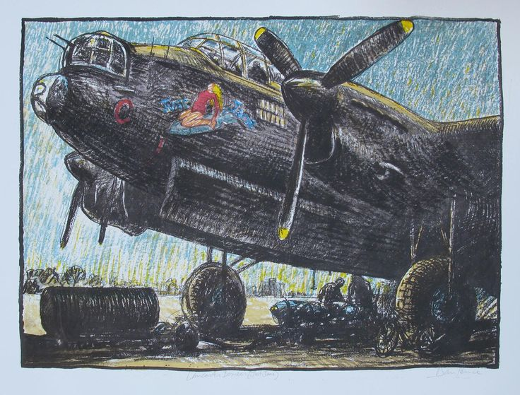 """""""Bomber"""" 64x45 €65 I met this Lancaster bomber (""""Just Jane"""") in Lincolnshire, an emotional experience. My uncle Jim flew Lancasters in bombing raids over Germany..."""