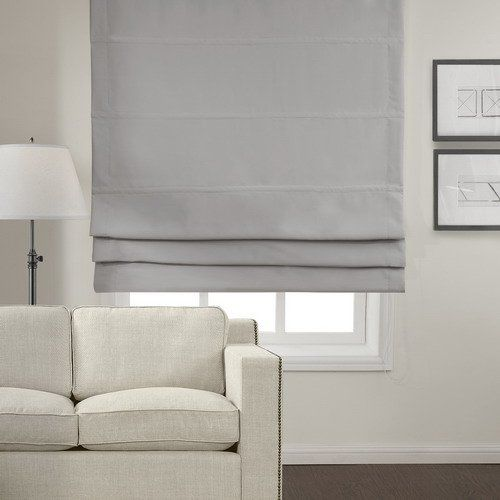 TWOPAGES Polyester Insulated Blackout Roman Shade Grey 28…