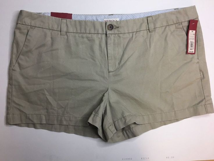 "Women's Chino Shorts - Merona Khaki Size 18 - Inseam 3"" #Merona #CasualShorts #Summer"