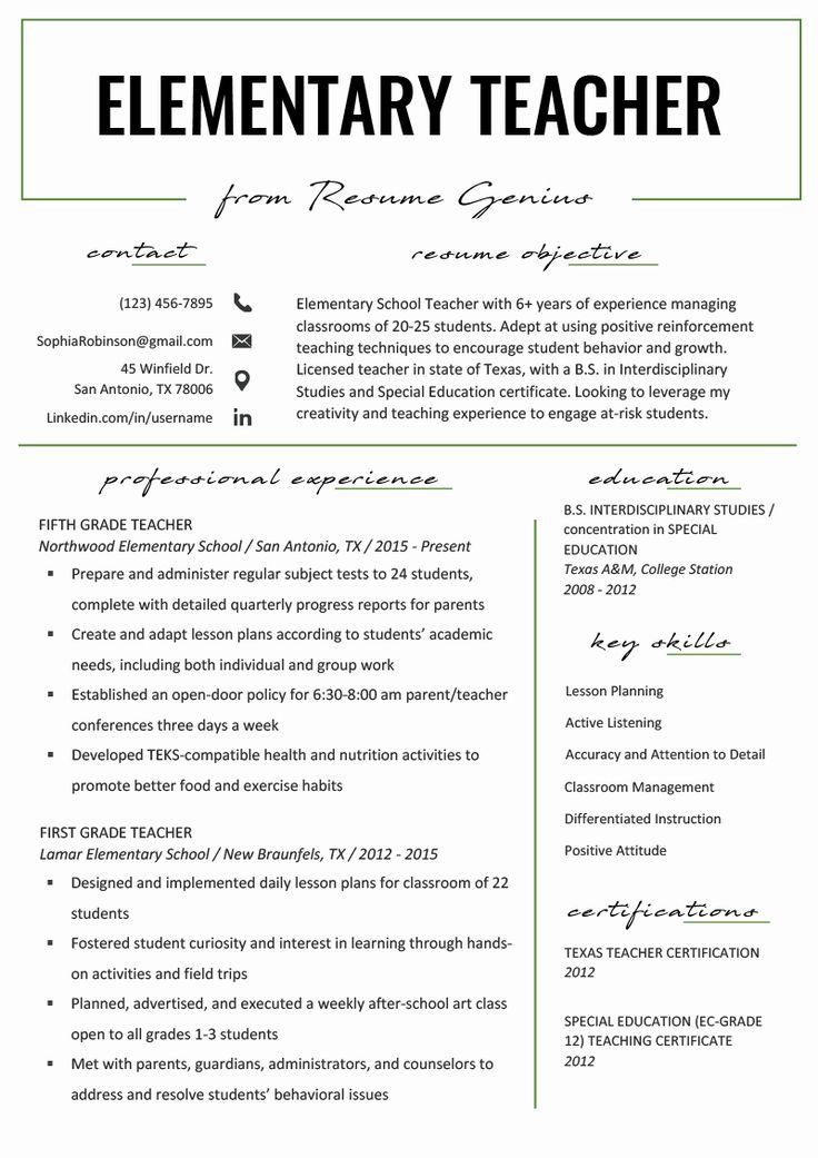 23 Math Teacher Resume Examples in 2020 Teaching resume