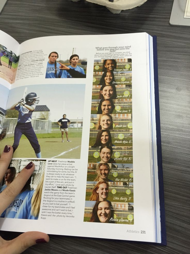 This is a cool idea of getting all the students on a sports team individually into the yearbook -Kassidy Daniels