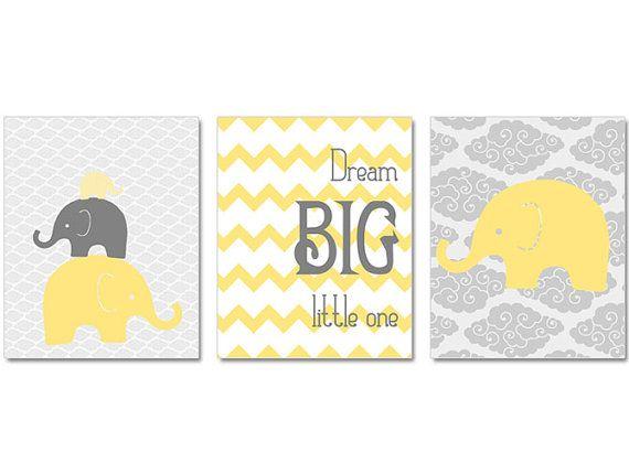 Elephant Nursery, Nursery Art, Dream Big Little One Print Set, Set of Three prints, Elephant Nursery Decor, Elephant Nursery on Etsy, $30.00