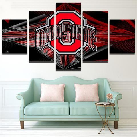 5 Panel Ohio State Buckeyes Sports Team Logo Framed Canvas Wall Art Home Decor