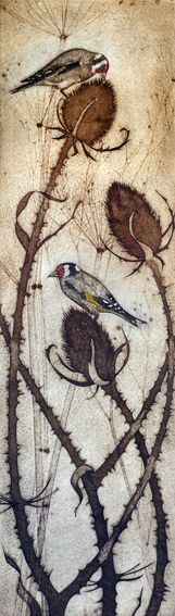 Kerry Buck - Goldfinches on Teasel fruit - collagraph print