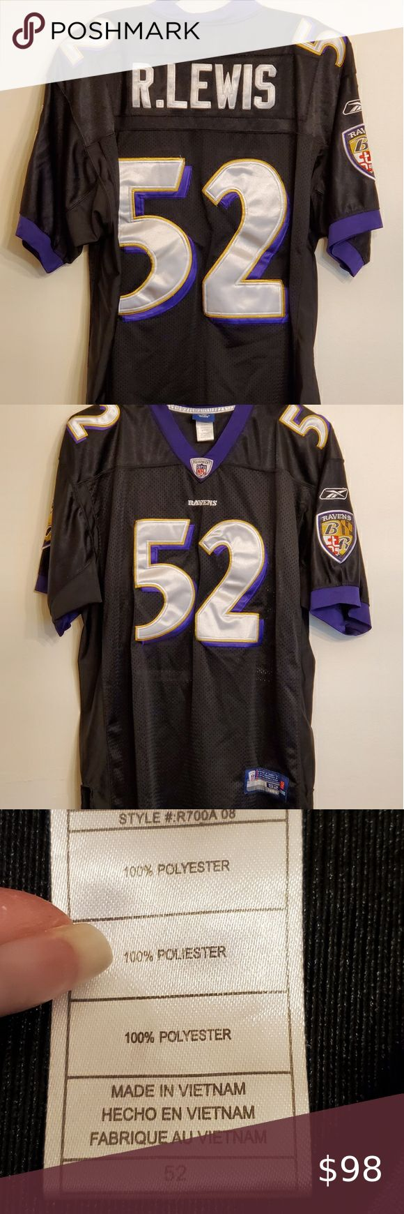 NFL Onfield Reebok Baltimore Ravens 52 R Lewis XL 52