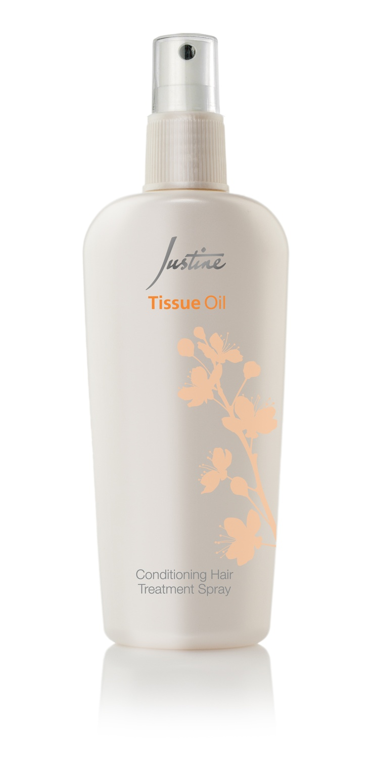 Tissue Oil Conditioning   Hair Treatment Spray  This spray is specially formulated with Tissue Oil which contains vitamin E. It conditions and helps to detangle hair to make it more manageable. Suitable for all   hair types.  250 ml   Code 4632  For More Information - http://www.justine.co.za/PRSuite/home_page.page