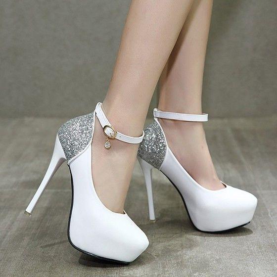 b45c0551b29 White Round Toe Stiletto Sequin Buckle Fashion High-Heeled Shoes ...