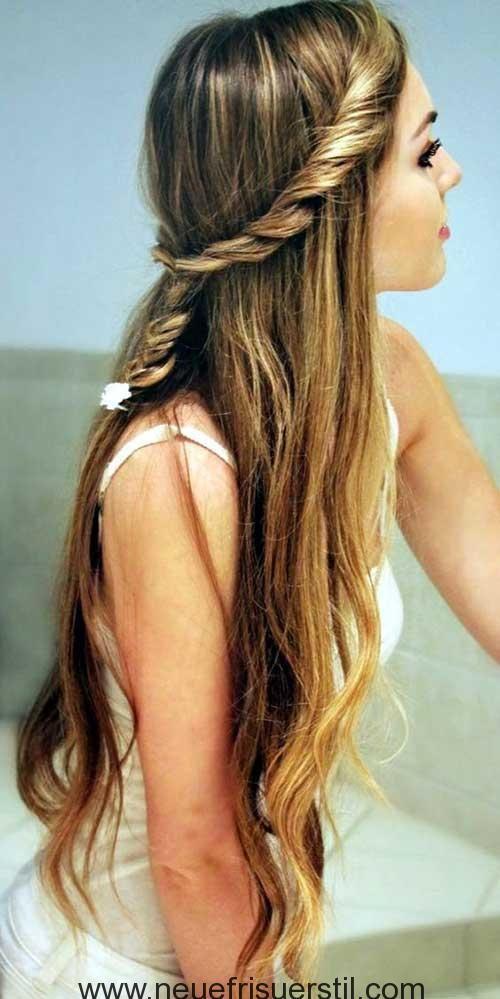 Verdrehte Geflochtene Lange Frisur Braid Haar Modelle Pinterest