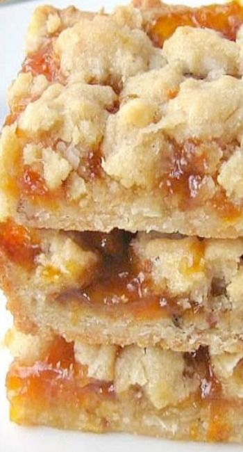 Apricot Coconut Bars/ 15 x 11 jelly roll pan, ground nut crust, 3 sticks of butter,( but makes a large pan} 1 3/4 preserves or jam